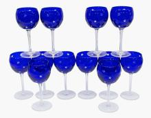 (13) FABERGE COBALT GALAXIE CRYSTAL GOBLETS