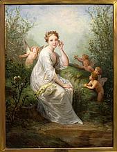 HENRI PICOU (1824-1895), LADY & PUTTI PAINTING