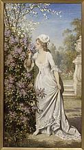 CARL SCHWENINGER (AUSTRIA,1818-1887) FLORAL & LADY
