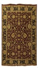 HAND KNOTTED FLOLIATE MOTIF AGRA WOOL RUG