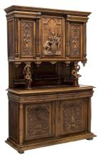FRENCH RENAISSANCE REVIVAL CARVED WALNUT SIDEBOARD
