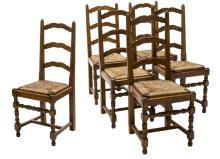 (6) FRENCH CARVED LADDER BACK RUSH SEAT CHAIRS