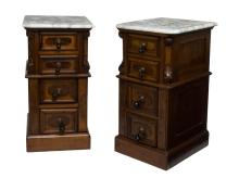 (2) VICTORIAN MARBLE TOP BEDSIDE CABINETS, 20TH C