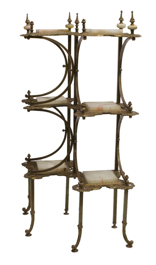 fine victorian brass onyx pierced etagere stand. Black Bedroom Furniture Sets. Home Design Ideas