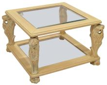 ITALIAN PAINTED WOOD & GLASS CARVED SOFA TABLE