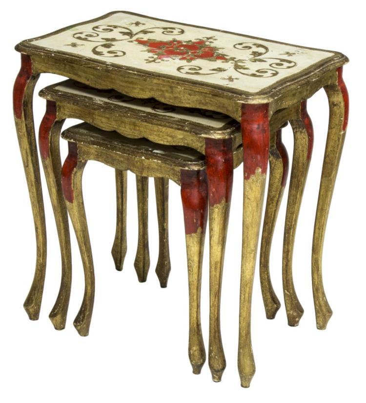 3 ITALIAN FLORENTINE PARCEL GILT NESTING TABLES
