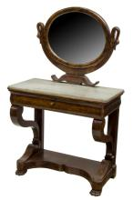 FRENCH EMPIRE STYLE MARBLE TOP DRESSING TABLE