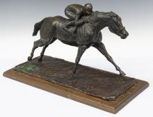 RANDY STEFFEN (D.1977) RACE HORSE BRONZE SCULPTURE