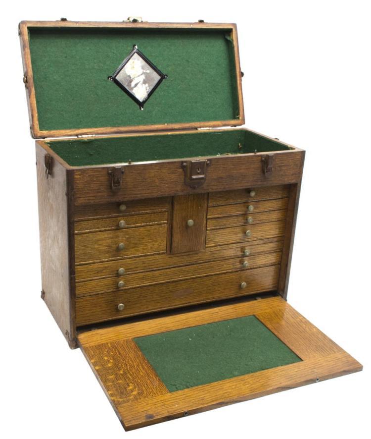 Vintage Craftsman Oak Ten Drawer Tool Box