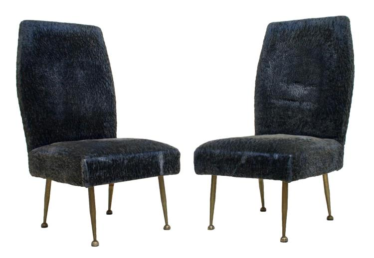 2 Italian Mid Century Modern Blue Side Chairs