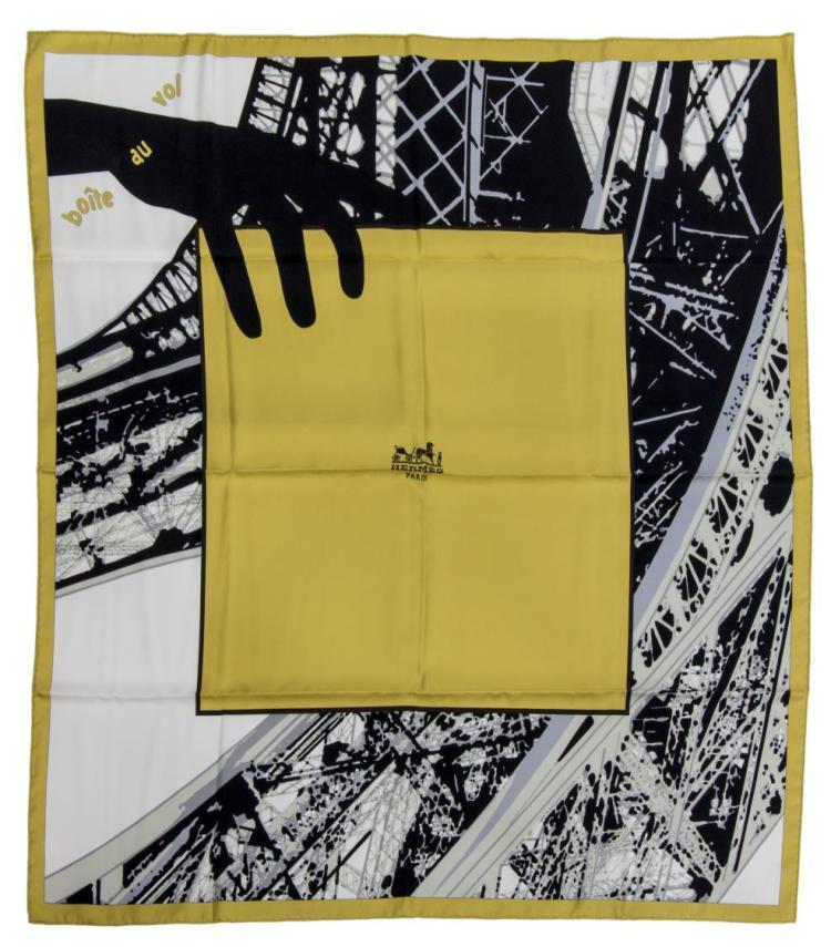 Hermes 39 boite au vol 39 modern twill silk scarf for Boite a couture moderne