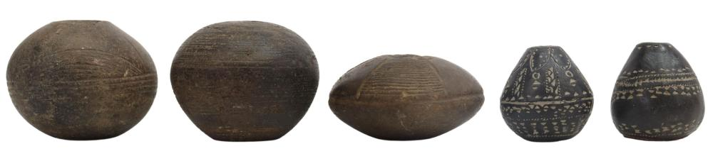 (5) ANCIENT DRILLED SPINDLE WHORLS