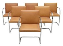 (6) MIES VAN DER ROHE KNOLL 'BRNO' LEATHER CHAIRS