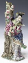 CHINESE FAMILLE ROSE PORCELAIN LADY WITH PEACHES