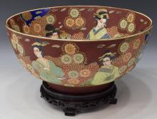 LARGE SATSUMA STYLE PORCELAIN CENTER BOWL