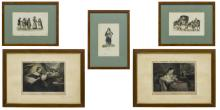 (5) HAND-COLORED ENGRAVINGS, 'AMOUR' & 'INNOCENCE'