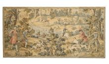 FRENCH MACHINE WOVEN HANGING TAPESTRY, HUNT SCENE