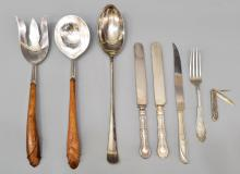 (8) STERLING & SILVER PLATE SERVING, FLATWARE