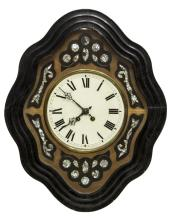 NAPOLEON III EBONZIED & INLAID SHAPED WALL CLOCK