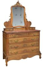 FRENCH LOUIS XV CARVED WALNUT COMMODE WITH MIRROR
