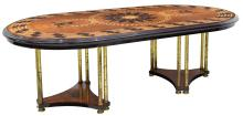 FRENCH EMPIRE STYLE BURL WOOD MARQUETRY TABLE