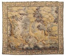 FRENCH MACHINE-WOVEN LANDSCAPE HALL TAPESTRY