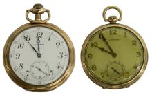 (2) POCKET WATCHES, ONE IN 14KT SOLID GOLD CASE