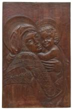 ITALIAN BAS-RELIEF WOOD PANEL, MADONNA & CHILD