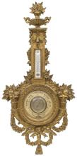 FRENCH GILT WALL-MOUNT BAROMETER & THERMOMETER