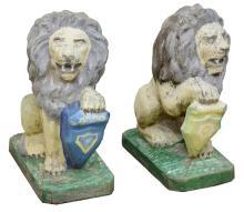 (2) PAINTED CAST CONCRETE GARDEN STATUARY LIONS