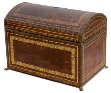 EMBOSSED PARCEL GILT LEATHER CHEST