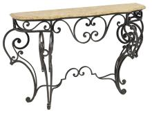 LOUIS XV STYLE WROUGHT IRON & MARBLE CONSOLE TABLE