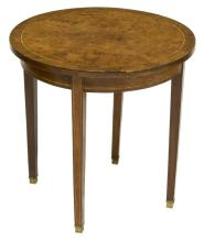 LOUIS XV BURL FINISH STRING INLAY ROUND TABLE