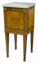 FRENCH EMPIRE STYLE BURL WOOD MARBLE SIDE CABINET