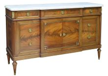 FRENCH EMPIRE STYLE MAHOGANY MARBLE TOP SIDEBOARD
