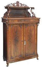 ANTIQUE DANISH MAHOGANY PIERCE CARVED CABINET
