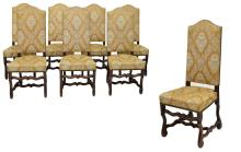 (8) LOUIS XIII STYLE FRUITWOOD SIDE CHAIRS