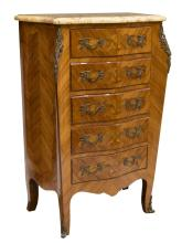 LOUIS XV STYLE MATCHED VENEER MARQUETRY CHIFFONIER