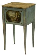 FRENCH PAINTED SIDE TABLE, FIGURAL CABINET RESERVE