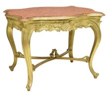 LOUIS XV CARVED GILT MARBLE TOP OCCASSIONAL TABLE