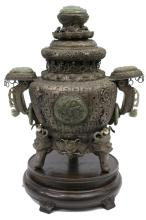 MONGOLIAN SILVER-PLATED, NEPHRITE JADE URN & LID