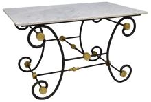 FRENCH MARBLE TOP PAINTED WROUGHT IRON BAKER TABLE