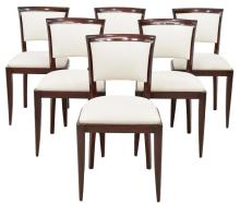 (6) LOUIS XVI STYLE MAHOGANY FINISH SIDE CHAIRS
