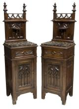 (PAIR) GOTHIC STYLE MARBLE TOP BEDSIDE CABINETS