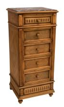 FRENCH WALNUT MARBLE TOP BEDSIDE CABINET