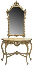 FRENCH LOUIS XV STYLE GILT CONSOLE TABLE & MIRROR