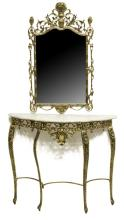 (2) FRENCH GILT METAL CONSOLE TABLE & MIRROR