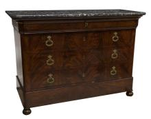 FRENCH LOUIS PHILIPPE MARBLE TOP MAHOGANY COMMODE