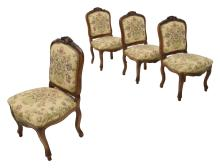 (4) LOUIS XV STYLE WALNUT SIDE CHAIRS