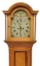 AMERICAN WALNUT TALL CASE CLOCK, 19TH C.